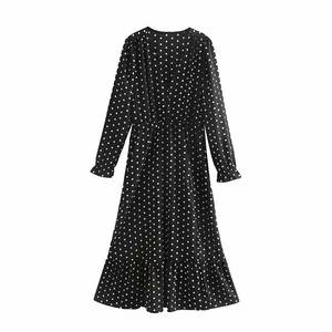 Loose pretty wholesale new style polyester dot casual long sleeve v-neck black dress