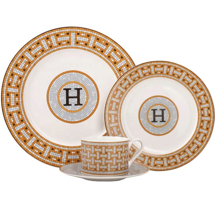 Wedding tableware ceramic bone china luxury porcelain dinner set
