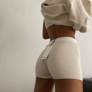 Casual Fashion White Black High Waist Women Knitted Biker Bodycon Shorts Summer Cotton Sweat Mini Sexy Shorts Femme