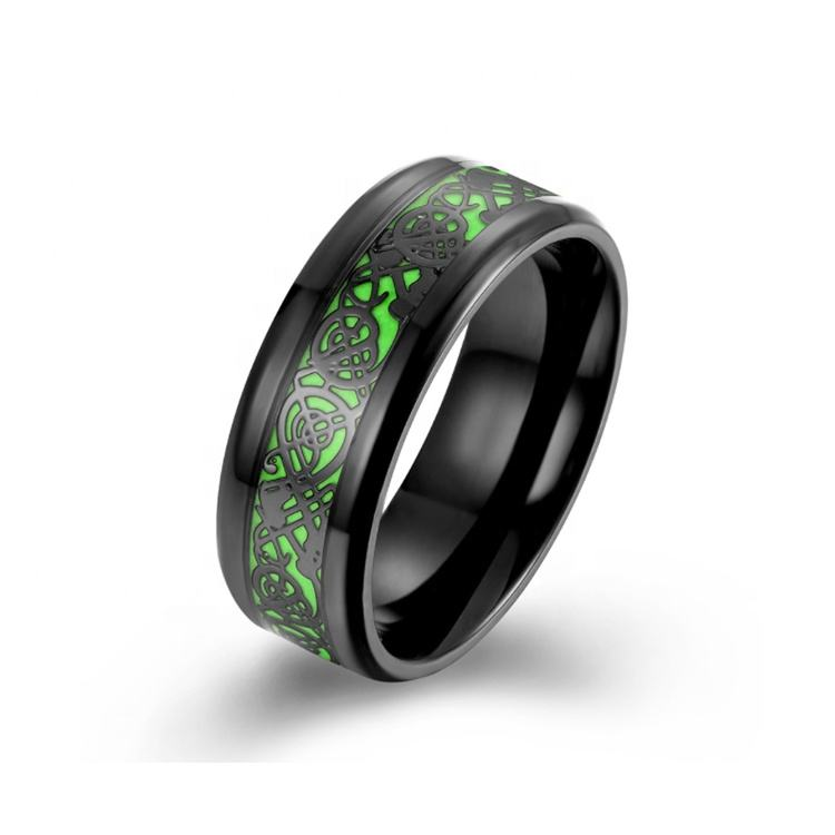 Cool style glow in the dark luminous tungsten rings for men