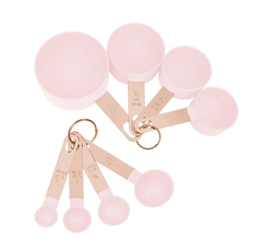 8 piece PP Stainless Steel Copper Rose Gold Baking Measuring Cup and Spoons Set