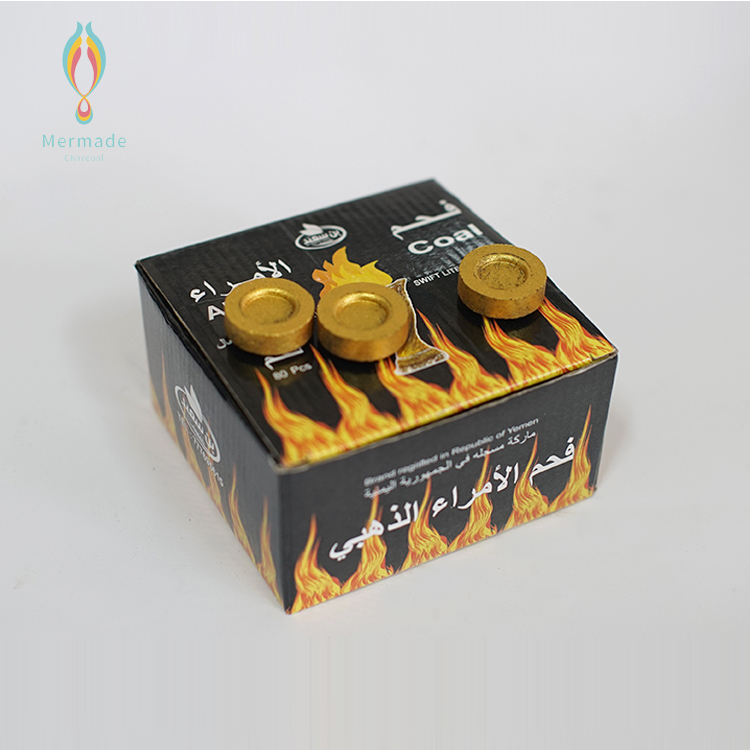 Factory Wholesale Lump Fruit Wood Sawdust Shisha Coals Golden Color Charcoal For Hookah Smoking