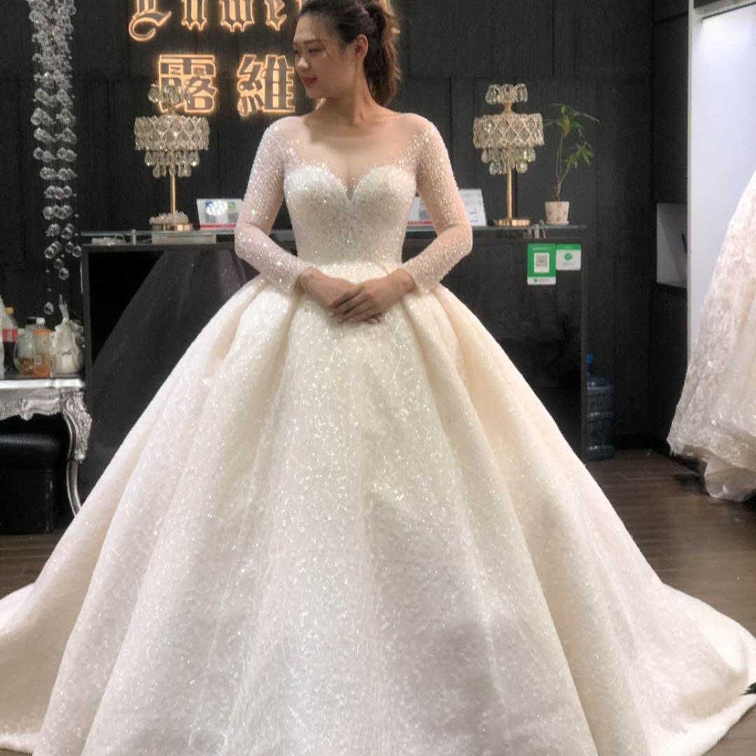 Luxe fait main perles swarovski cristal manches longues ivoire magnifique robe de mariée robe de mariée
