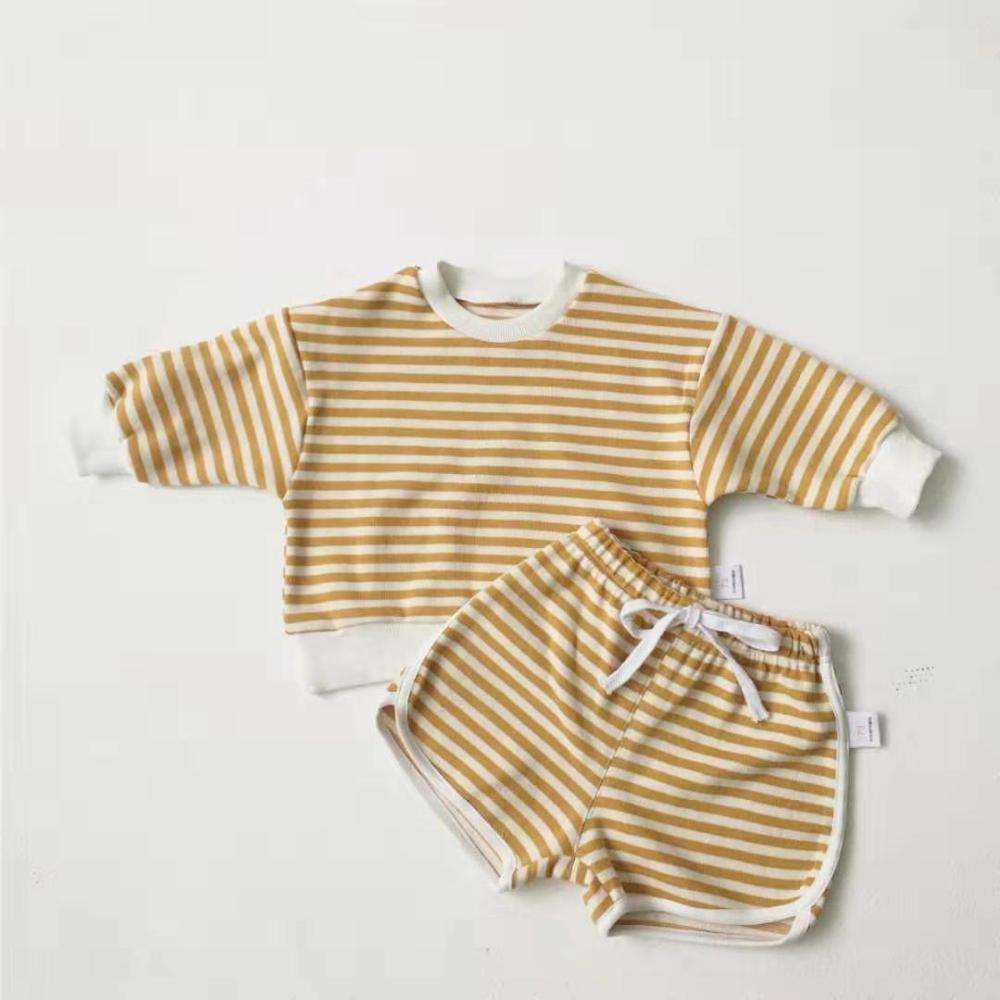Bulk wholesale kids popular boutique clothing girl's long-sleeve red striped suit