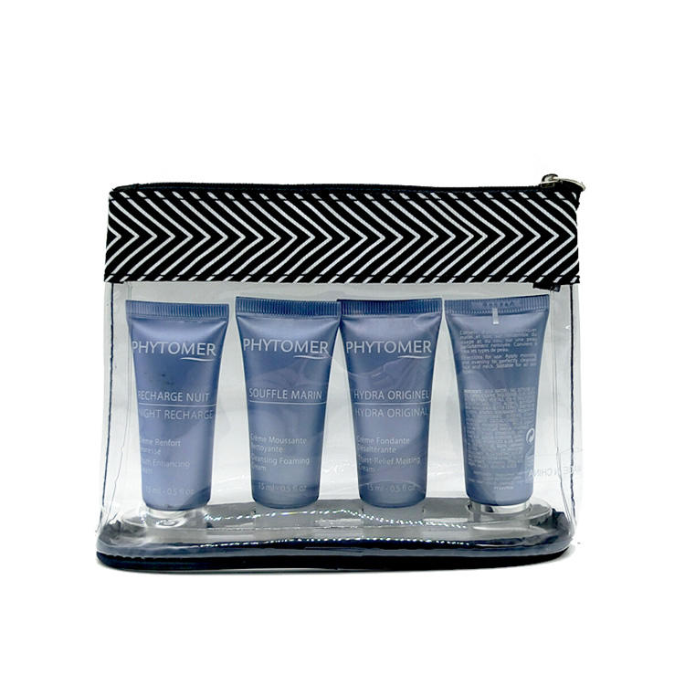 New style clear plain transparent custom PVC nylon zipper cosmetic makeup bag travel kit bag