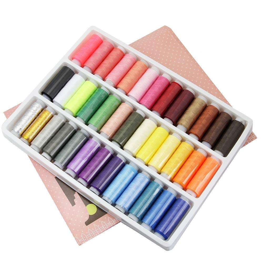 39 Spools Polyester Thread Sewing Thread Box Set for Most Sewing Machine Hand Quilting Stitching Thread Sewing Accessories