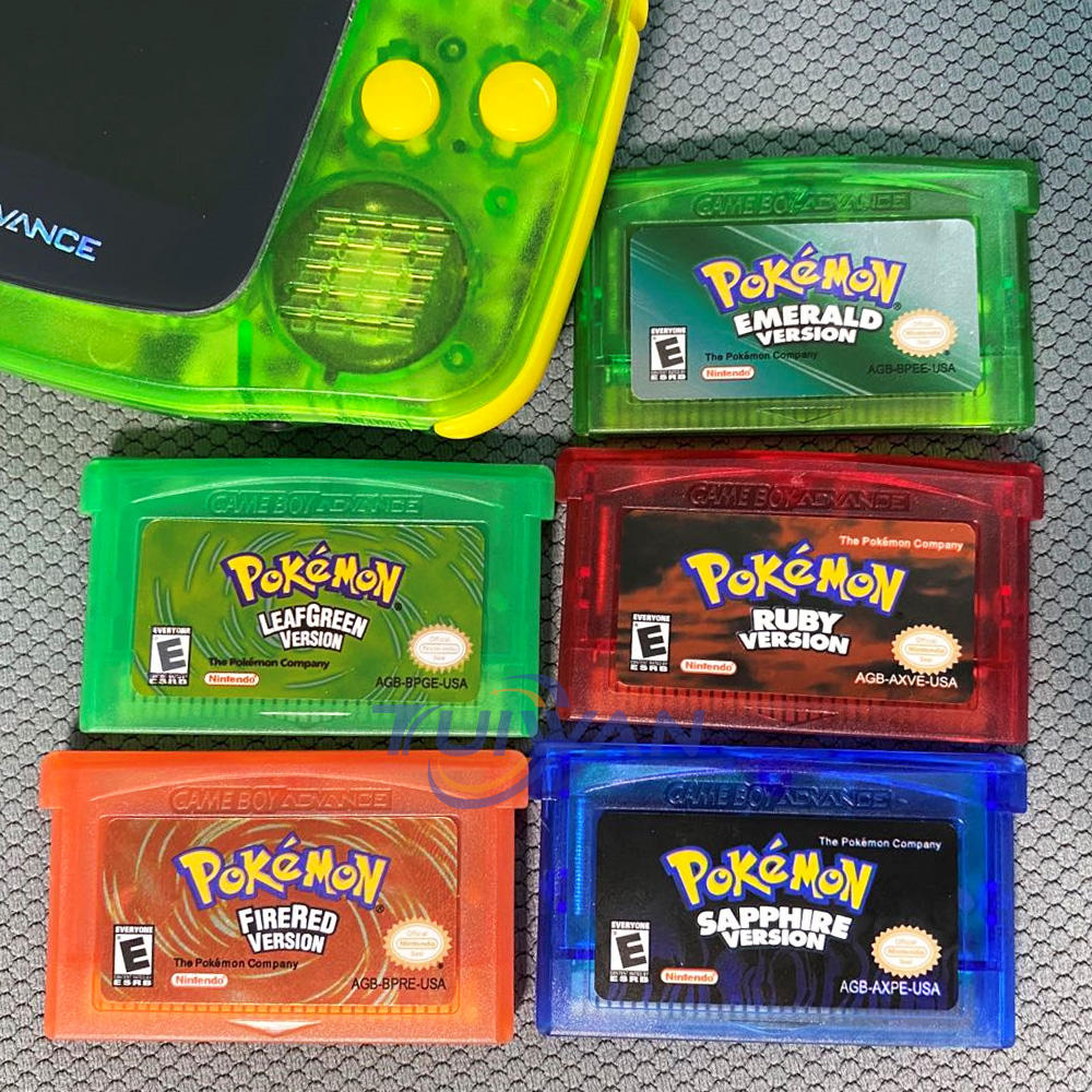 5 kinds of pokemon game cartridge for gbc game card series boy games for GBA SP cards