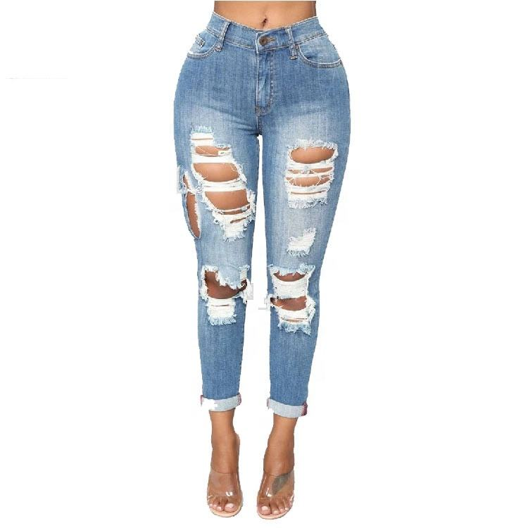 2020 fashion street verontruste ripped beschadigd jeans vrouw vrouwen hoge taille dame jeans denim skinny stretch d biker jeans