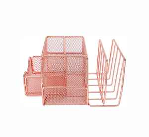 Metal Home Office Desk Organizer Caddy and Storage with Pen Holder  Rose Gold