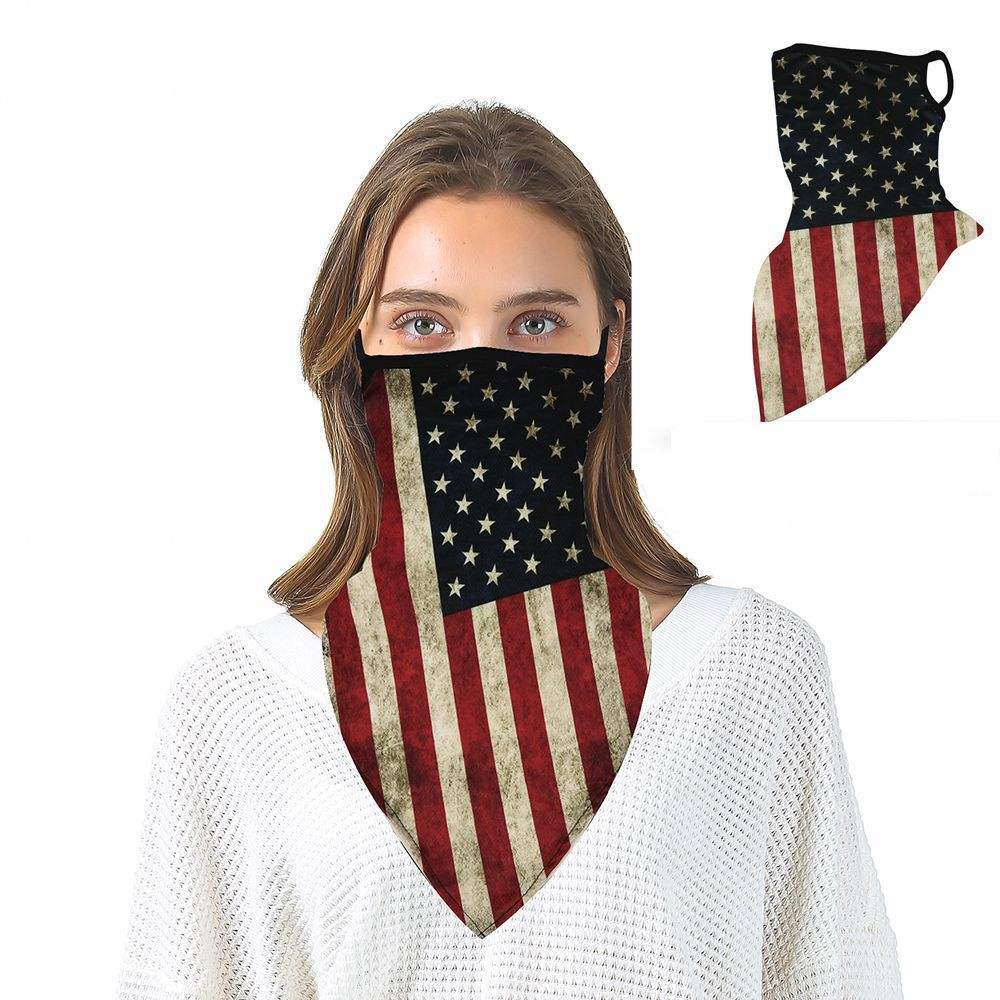 Outdoor Scarf Neck Bandana Face Shiled Earloop Face Cover Scarf Bandana Square Silk Scarf American Flag Bandana