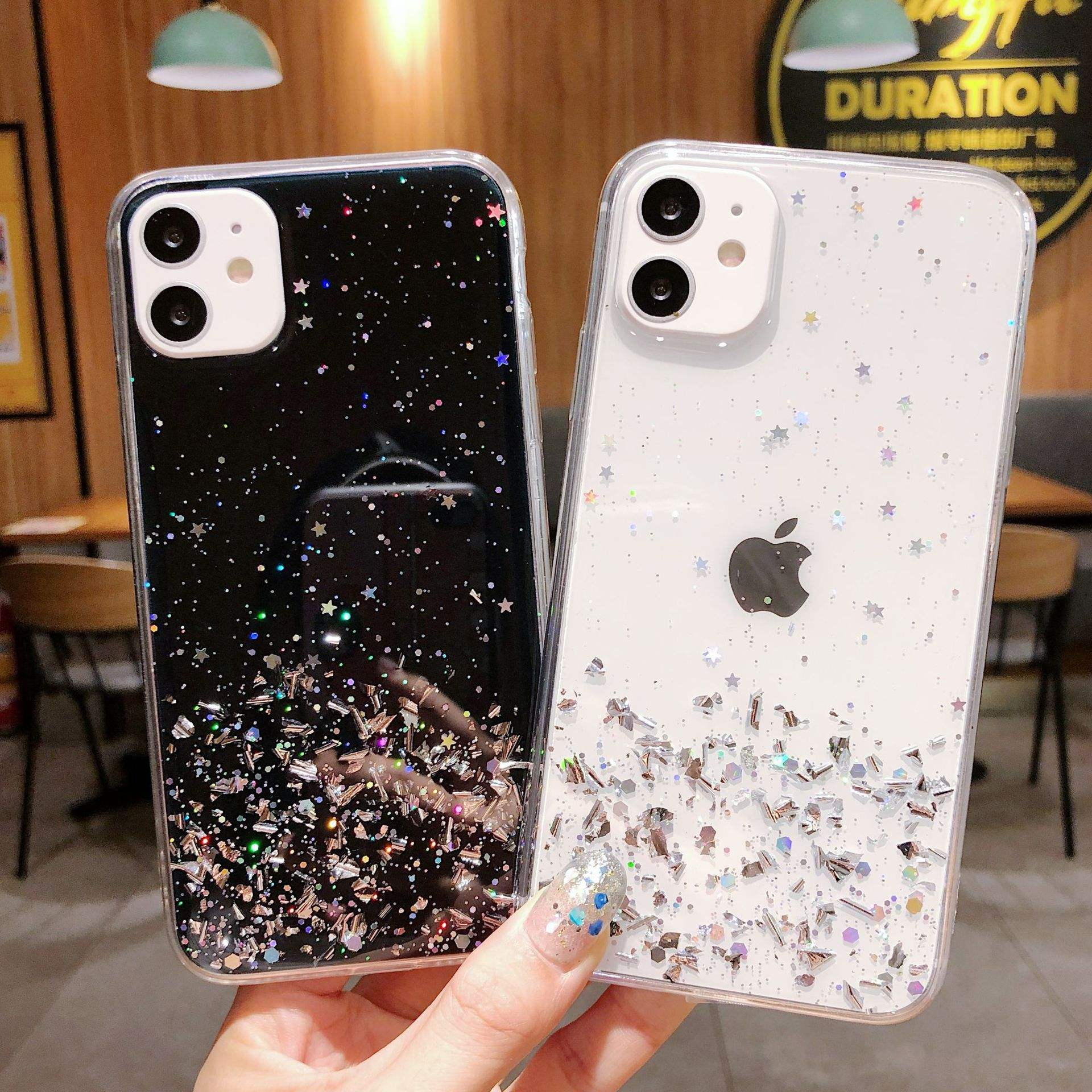 <span class=keywords><strong>Mode</strong></span> Epoxy Shiny Glitter Clear Case Voor Iphone 11 12 Pro Max 6 7 8 Plus Shockproof Girly Vrouwen Case