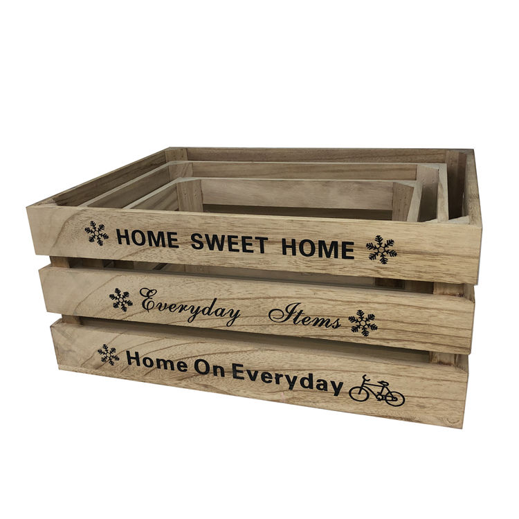 Customized Farmhouse country rustic sundries large wooden crates decorative