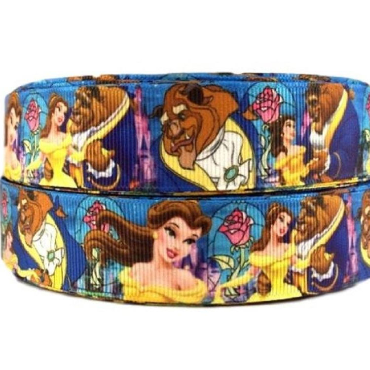 Best Selling 1 Inch Fairy Tale Princess And Lion Hero Single Sided Grosgrain Ribbon Printed