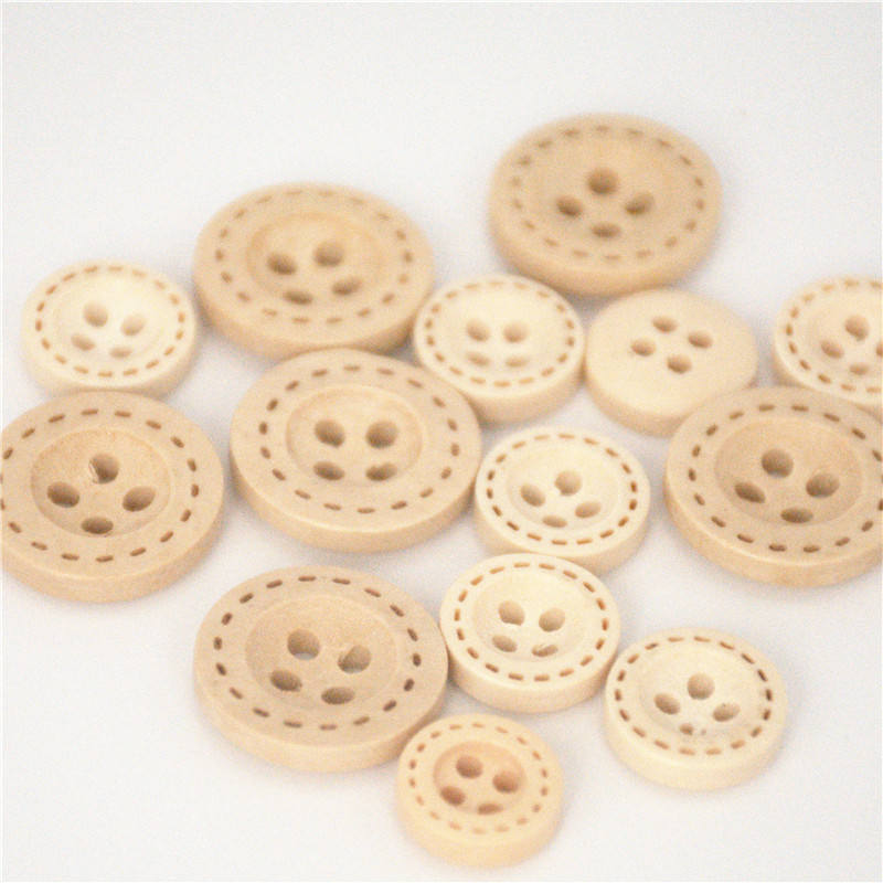Deepeel C1-5 25mm DIY Garment Accessories Suit Sweater Shirt 4 Holes Round Natural Wood Buttons