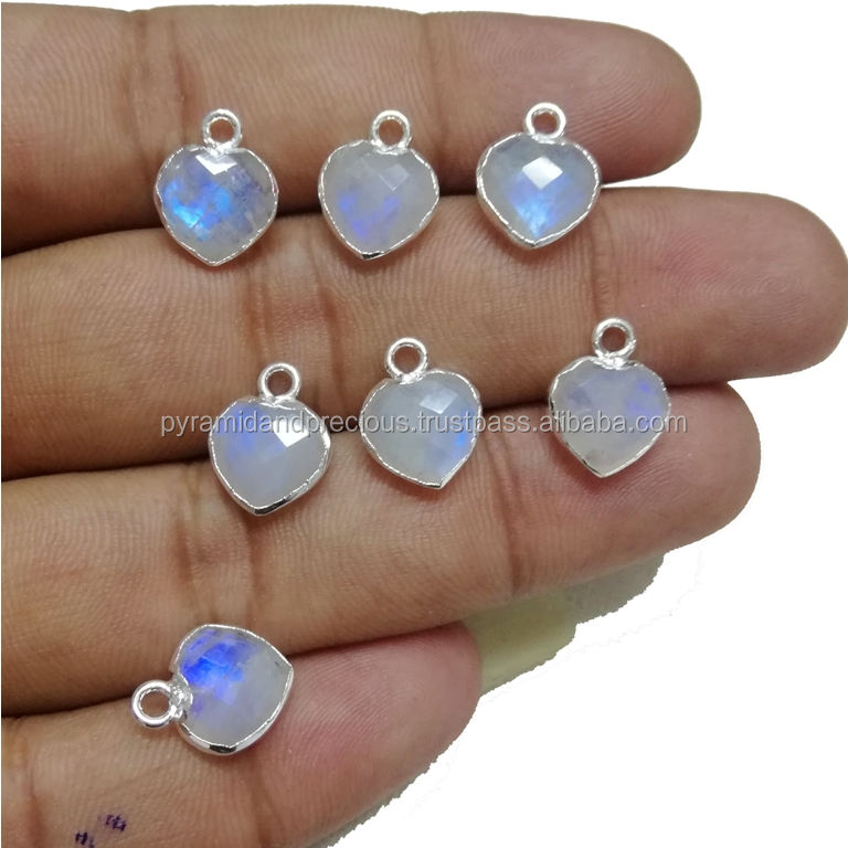 Rainbow Moonstone Heart Shape Gemstone Pendant - Silver Electroplated Gemstone Charms