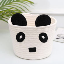 2020 best selling large foldable folding woven kids children cute cartoon cotton rope storage basket with animal ears