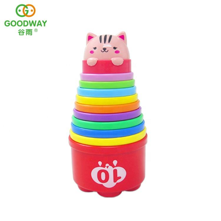 11pcs creative educational baby plastic cartoon quick speed stack cup toy
