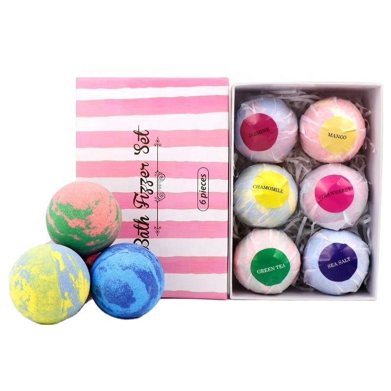 OEM Private Label Custom LOGO Packaging Gift Set Rich Bubble Vegan Natural Organic Colorful Fizzy Bath Bombs