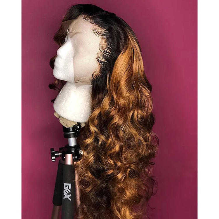 ombre 1b 30 loose wave lace front wig two tone brown color brazilian virgin human hair full lace wig with baby hair