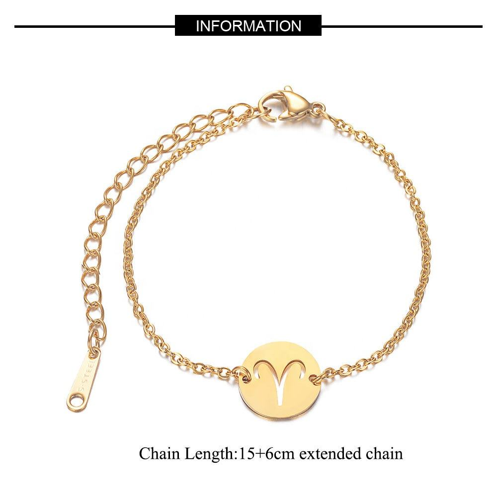 Fashion Golden Color 12 Constellations Zodiac Charm Bracelet for Women Female 100% Stainless Steel High Polish Charms Bracelets