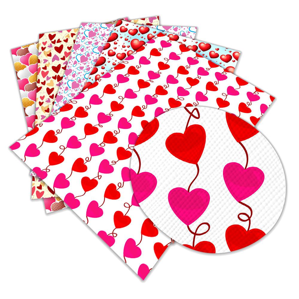 Colorful Red heart Valentine's Day print faux leather Fabric PU Vinyl for party decoration