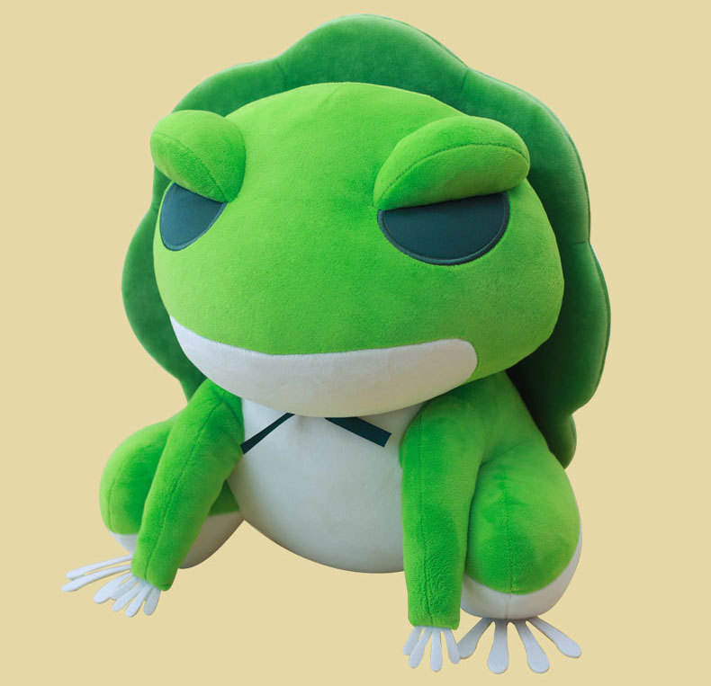 (Wholesale) Stuffed animal Super Soft Travel Frog Green Frog With Hat Toy, High Quality Stuffed Animal Green Travel frog Plush