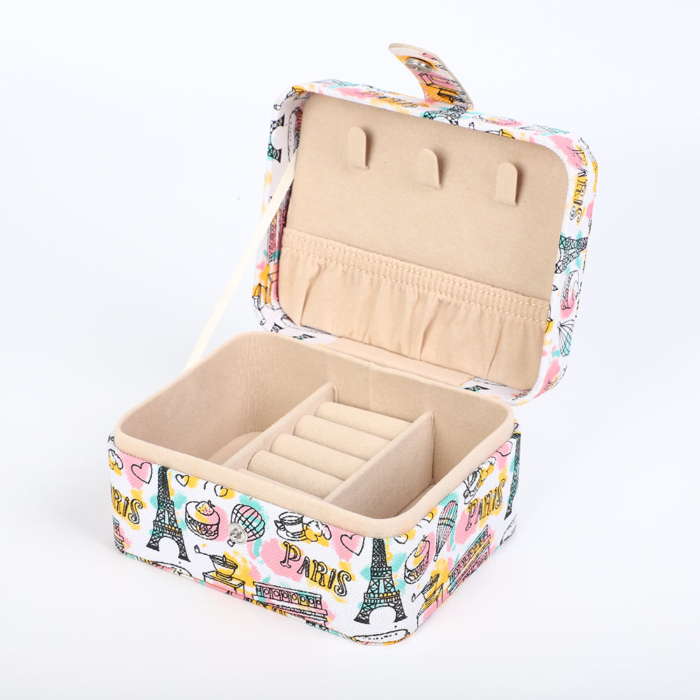 Luxury handmade Small Travel Jewelry Box for Lady Organizer Display Storage Case for Rings Earrings Necklace Zipper Closure