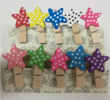 mini pentacle colorful lovely Craft wooden clip wooden clothespin,five-pointed star gift clips with lower price in stock