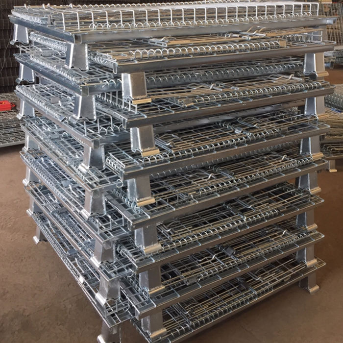Industrial heavy duty stackable demountable collapsible rigid metal bulk wire mesh storage pallet containers