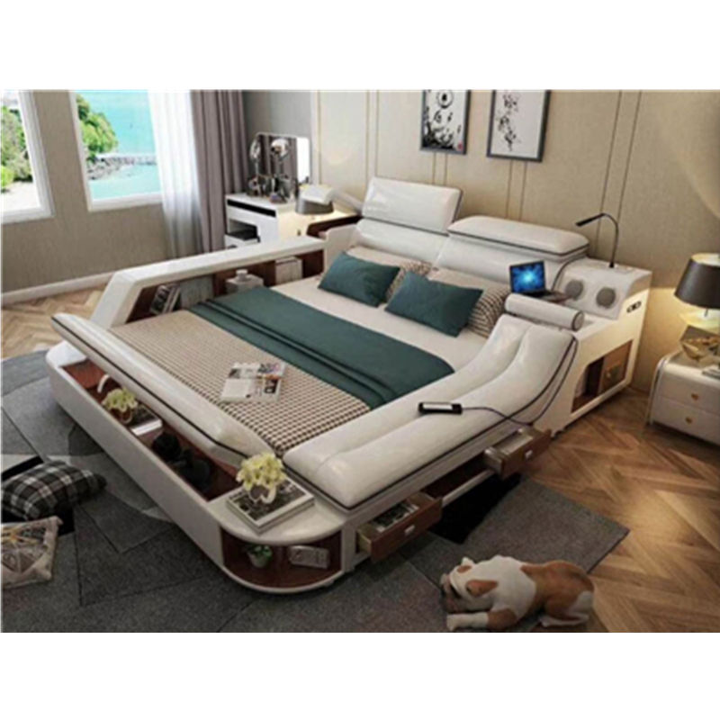 Modern Massage Top Grain Leather Double Bed Multifunction Storage Massage king size Bed with Bluetooth