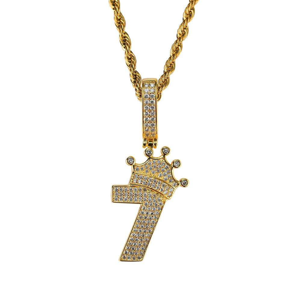 Factory Selling trend Number 7 design crown zircon pendant hip hop necklace