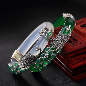 Real 925 Sterling Silver Bangles for Women Thai Silver Chalcedony Peacock Bangles Jade Creative Bracelet Jewelry