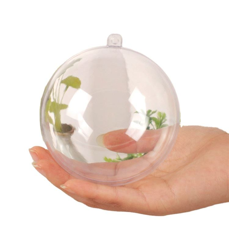 Hot Sell 80mm Hanging Clear Plastic Christmas Ball Transparent Hollow Sphere Christmas Ball