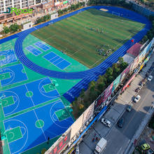 Permanent interlocking basketball court