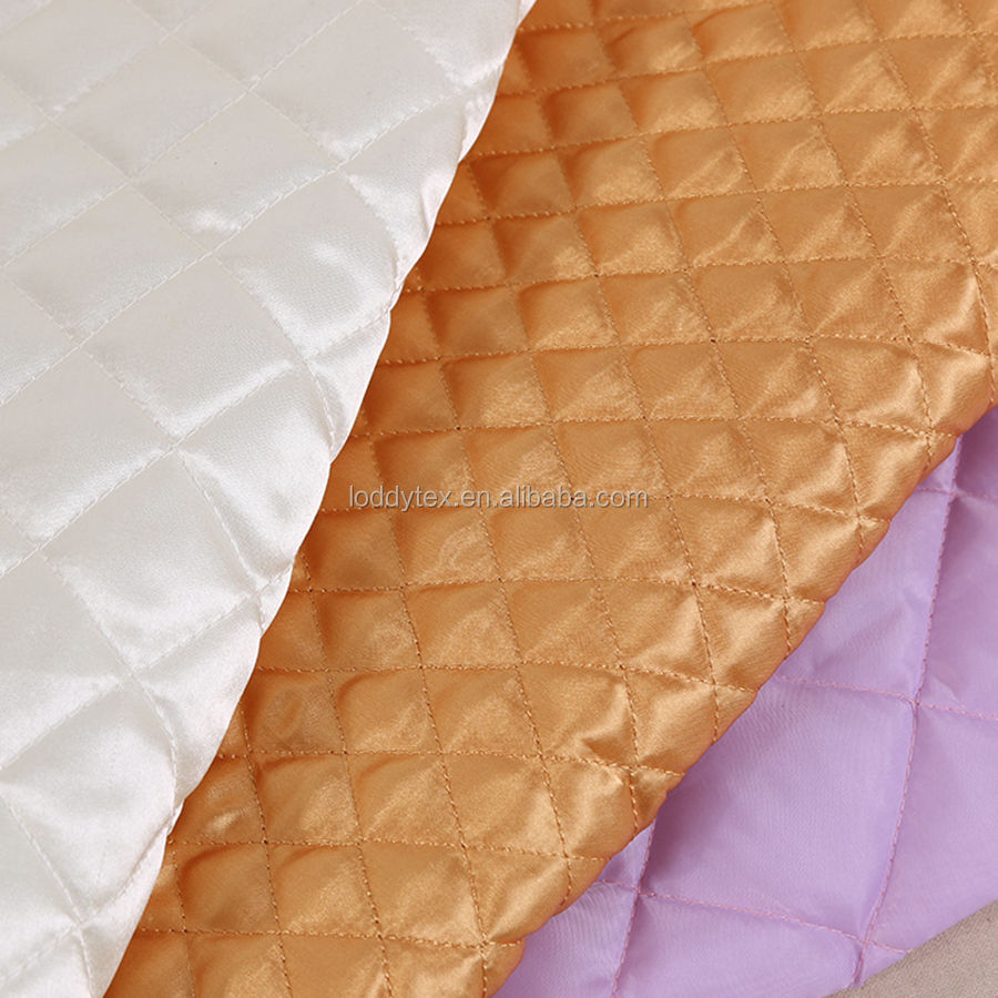 polyester diamond quilted satin fabric