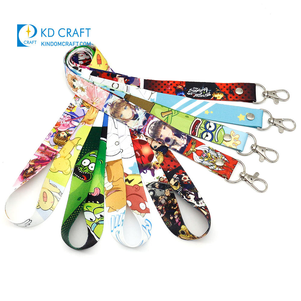 High quality cheap custom round nylon neck strap dye sublimation printing cartoon character anime lanyard with metal clip