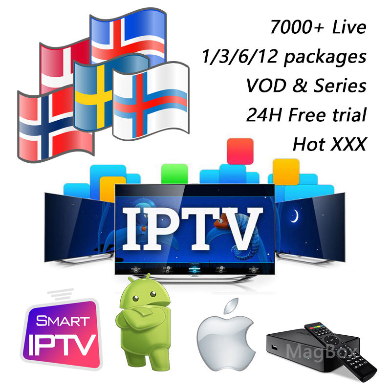 3 6 12 months IPTV HD subscription m3u Scandinavia Sweden Norway Denmark Finland Iceland Nordic smart TV mag250x android tv box