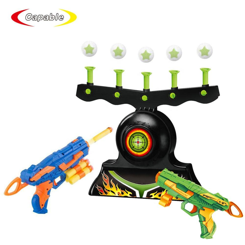 Electric hover shot target game floating ball shooting game with 2 guns and soft bullets