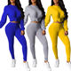Autumn New Listing Sport Style Women Clothing 2 Piece Set Crop Top Women Jumpsuits And Rompers