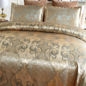 Classic European Style Super Soft Silky Jacquard Duvet Cover Bedding Set With Zipper Closure
