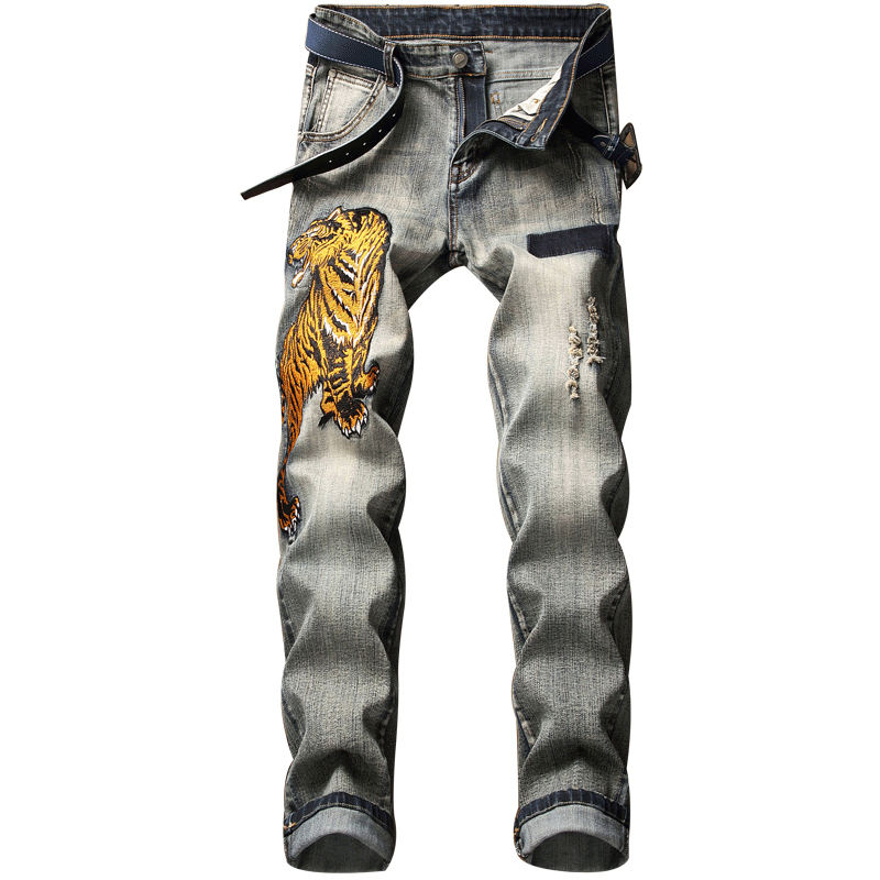 Gestickte tiger muster fashion crazy distressed boot cut dünne männer jeans