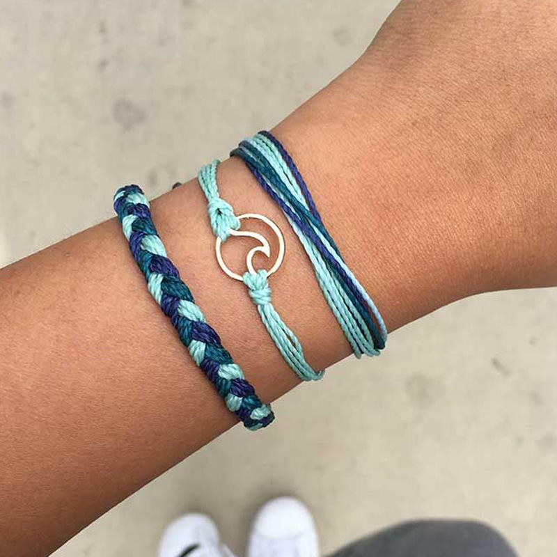 Starain Wave Beach Strand Bracelet for Women VSCO Girls Boho Handmade Waterproof Adjustable Braided Rope Bracelet Set