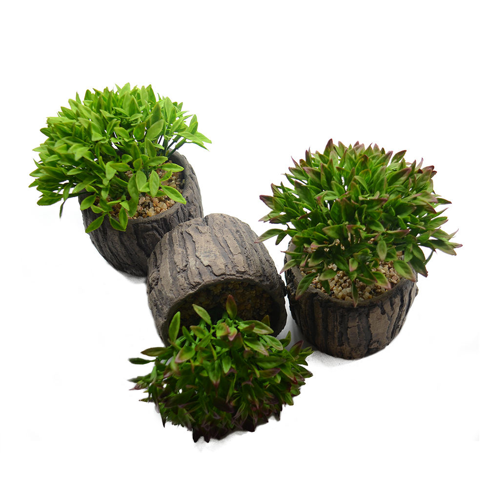 Artificial Small Green Plant Bonsai Trees with Wooden Pot