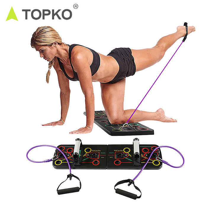 TOPKO hot selling 9in 1 multi-function fitness system push up board with resistance bands