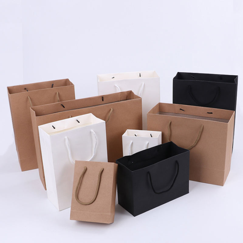 High quality Gift Paper Shopping Bag With Handle, Craft Brown black white pink Custom Kraft Paper Bag
