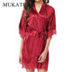 Lace Kimono Sleepwear Robe Women Nightdress Silk Satin Sexy Lingerie Mini Solid Dress V Neck Nightgown