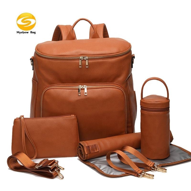 factory directly supplier diaper backpack,low MOQ brown vegan leather diaper bag backpack baby changing bag for mom and dad