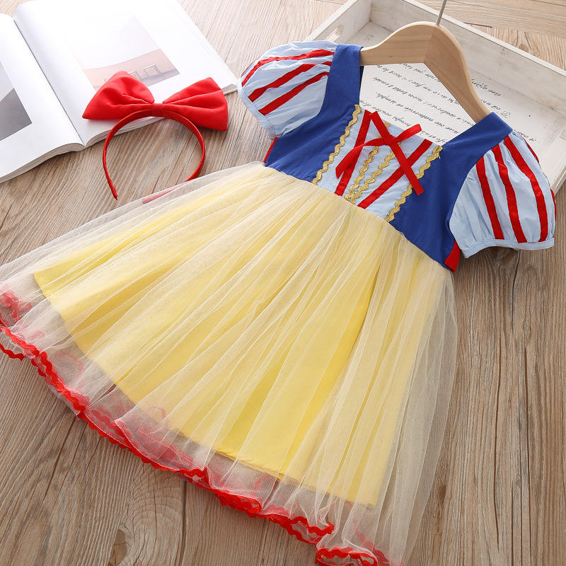 RTS Latest Design Cute Party Wedding Girls Clothes Snow White Dress For Baby Girl Princess
