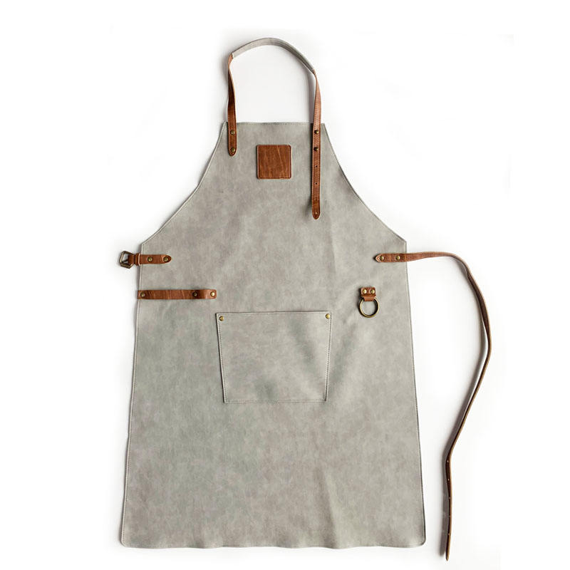 Eco friendly PU leather Chef Butchers BBQ Kitchen Cooking House Garden Work Waterproof Apron With Pocket Oversleeve Waist Apron