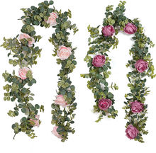 Wedding Backdrop Arch Wall Hanging Champagne Roses Peony Flower Vine Decorative Artificial Rose Flower Eucalyptus Leaves Garland
